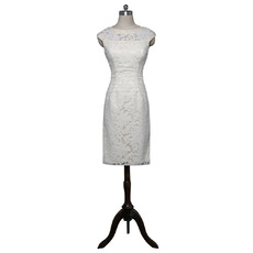 Modern Column Knee Length Lace Mother of the Bride Dress with Beaded Neck and Waist