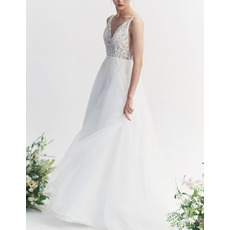 Simple and Sexy Double V-Neck Chiffon Wedding Dresses with Lace Bodice and Side Cut Out