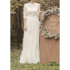 Vintage-inspired and Romantic Illusion Neckline Lace Wedding Dresses with Half Sleeves