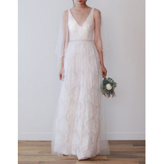 Beautiful V-Neck Lace Wedding Dresses with Crystal Waist and Beaded Tulle Wrap