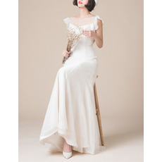 Beautiful Illusion Neckline Chiffon Wedding Dresses with Slight Cap Sleeves