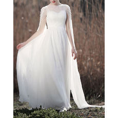 Gorgeous Beaded Illusion Neckline Chiffon Wedding Dresses with Cape Drapes Over Shoulders