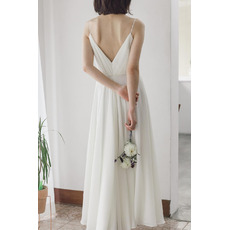 Simple Spaghetti Strap V-neckline Chiffon Wedding Dresses with Ruched Bodice