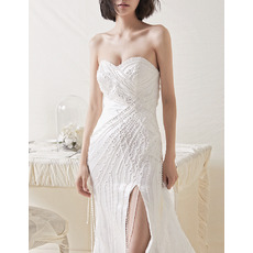 Gorgeous Beading Embroidery Satin Wedding Dresses with High Slit and Fringe