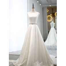 Dramatic Illusion Back Satin Wedding Dresses with Crystal Embellished Waistline and Back