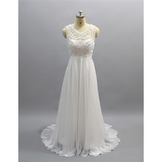 Flowing Pleated Chiffon Skirt Wedding Dresses with Delicate Beaded Embroidered Bodice