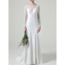 Fashionable Deep V-neckline Court Train Satin Wedding Dresses with Long Lace Sleeves