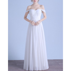 Simple Full Length Off-The-Shoulder White Pleated Chiffon Wedding Dresses