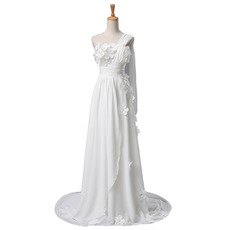 Romantic One Shoulder Chiffon Wedding Dresses with Floral Applique