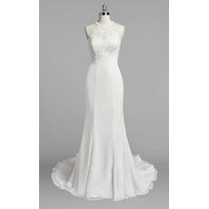 Sexy Beaded Jewel Neckline Chiffon Wedding Dresses with Lace Bodice