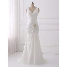 Elegant V-Neck Full Length Chiffon Wedding Dresses with Cowl Back and Crossover Draped Bodice