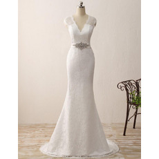 Elegance V-Neck Ivory Lace Wedding Dresses with Illusion Back and Crystal Sashes