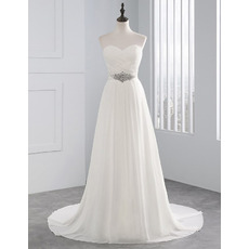 Elegance Sweetheart Ivory Chiffon Wedding Dresses with Criss Cross Bust and Crystal Waist