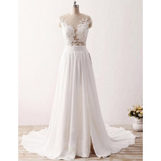 Seductive Illusion Neckline Chiffon Wedding Dresses with Lace Appliques Bust and Split Front