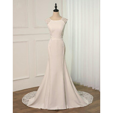 Floral Applique Satin Wedding Dresses with Dramatic Illusion Back