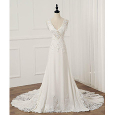 Alluring Lace Appliques Chiffon Wedding Dresses with Dramatic Illusion Back and Beaded Fringe