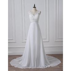 Graceful V-neckline Chiffon Wedding Dresses with Beading Appliques Bodice
