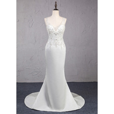 Shimmering and Sexy Crystal Beading Satin Wedding Dresses with Open Back and Beaded Fringe