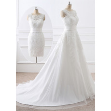 Perfect Appliques Satin Wedding Dresses with Removable Skirt for Reception