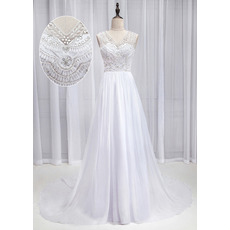Gorgeous and Sexy A-line Chiffon Wedding Dresses with Beaded Embellished Bodice