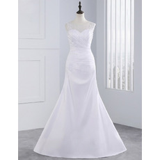 Graceful Beaded Illusion Neckline Sheath Satin Wedding Dresses with Asymmetrical Pleating