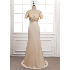 Discount Column/ Sheath Satin Wedding Dresses with Short Sleeves and Strappy Back