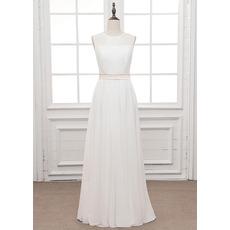 Simple Illusion Neckline Chiffon Wedding Dresses with Keyhole Back and Sash