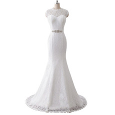 Elegant Jewel Neckline Lace Wedding Dresses with Open Back and Crystal-adorned Waist