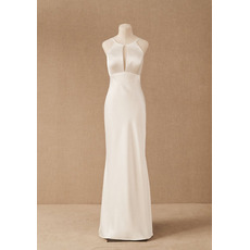 Simple Column/ Sheath Satin Wedding Dresses with Keyhole Front