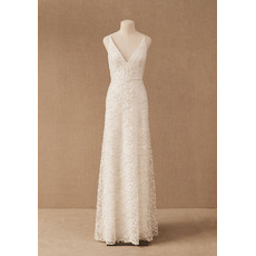 Perfect Column/ Sheath Deep V-Neck Lace Wedding Dresses