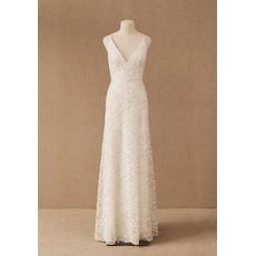 Perfect Column/ Sheath Deep V-Neck Lace Wedding Dresses