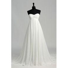 Perfect Beaded Sweetheart Chiffon Wedding Dresses with Pleated Bust and Skirt