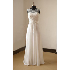 Pearl Appliques Illusion Neckline Wedding Dresses with Chiffon Skirt