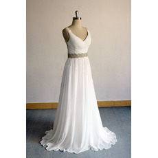 Enchanting V-neckline Chiffon Wedding Dresses with Crystal-adorned Waist
