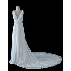 Seductive Deep V-neckline Chiffon Wedding Dresses with Long Train