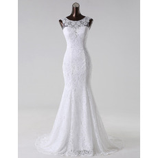 Simple Illusion Neckline White Lace Wedding Dresses with Beaded Detail