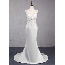 Shimmering Beading Embellished Bodice Ivory Satin Wedding Dresses with Open Back