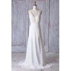 Seductive Low V-neckline Ivory Chiffon Wedding Dresses with Long Train
