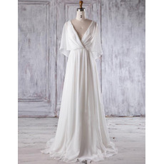 Simple Double V-Neck Ivory Chiffon Wedding Dresses with Flutter Sleeves