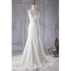 Stunning Low V-neckline Court Train Lace Wedding Dresses