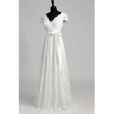 Elegantly Double V-neckline Lace Wedding Dresses with Cap Sleeves