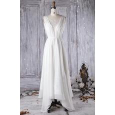 Elegantly Double V-neckline Asymmetrical Hem Chiffon Wedding Dresses with Cowl Back