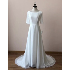Simple Low Back Court Train Chiffon Wedding Dresses with Short Sleeves