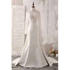 Luxurious Beading Embellished Illusion Bodice Wedding Dresses with Long Sleeves