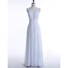 Simple Plunging Illusion V-Neck White Chiffon Wedding Dresses