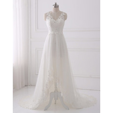 Romantic V-Neck Asymmetrical Hem Tulle Wedding Dresses with Appliques Bodice
