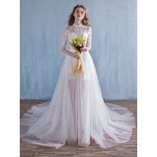 Romantic High Neckline Lace Bodice Wedding Dresses with Detachable Tulle Skirts