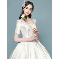 Graceful Beaded Appliques Ball Gown Square Neckline Satin Wedding Dresses with Short Sleeves