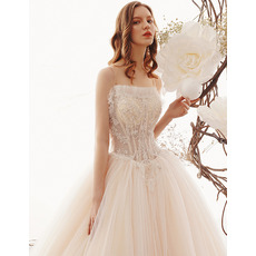 Princess Spaghetti Straps Tulle Wedding Dresses with Beaded Floral Appliques and Illusion Bodice