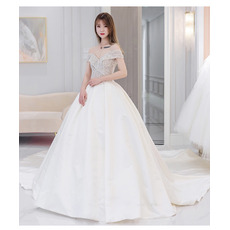 Shimmering & Gorgeous A-line Satin Wedding Dresses with Beading Crystal Embellished Bodice